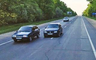 Правила обгона тихоходного транспортного средства через сплошную линию разметки